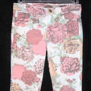 NINE WEST 4P jeans Stretch Crop Capris Floral Boho